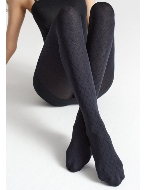 Gemusterte schwarze Strümpfe mit geometrischem Muster ALLURE W05 60DEN Marilyn