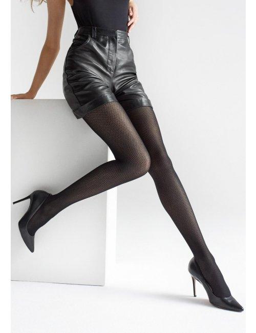 Schwarze gemusterte Strümpfe mit geometrischem Muster GRACE W06 40DEN Marilyn