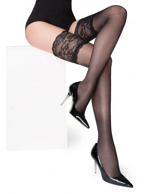 Dámske samodržiace pančuchy PARIS 03 20DEN Marilyn - čierna