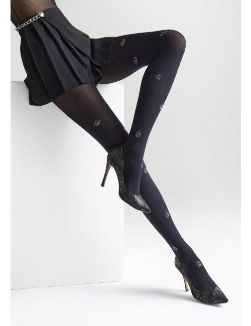 Gemusterte schwarze Strümpfe mit Kronen ALLURE W12 60DEN Marilyn