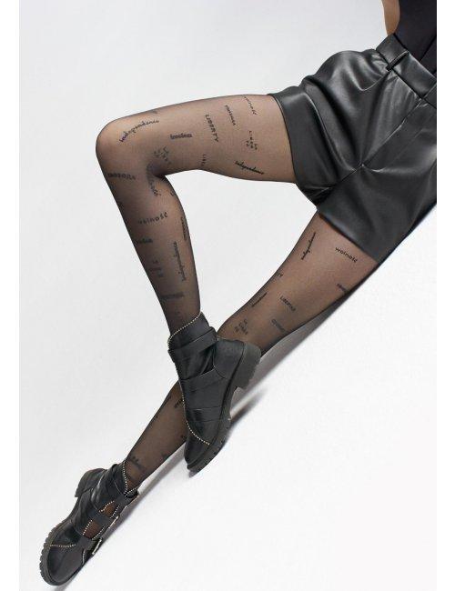 Gemusterte schwarze Strümpfe mit Aufschriften LIBERTY W10 Marilyn